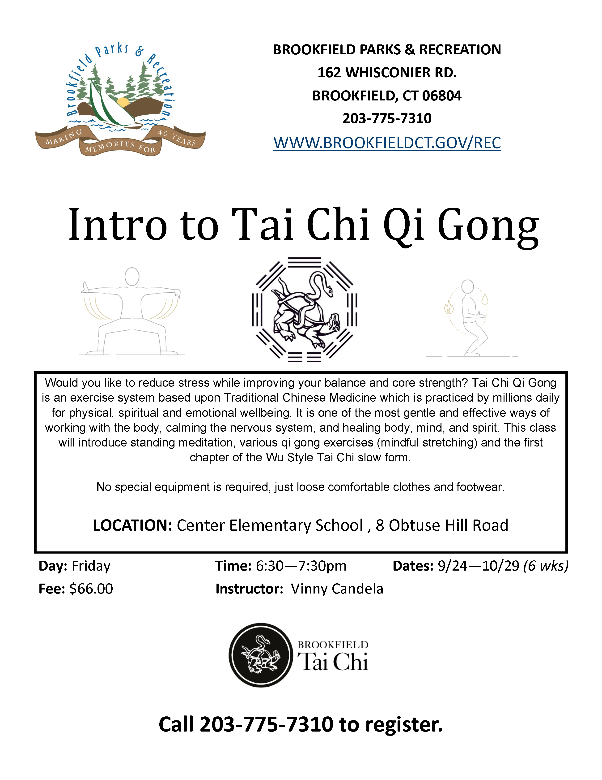 Intro to Tai Chi with Parks and Rec starts this Friday @ 6:30pm